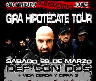 Flyer para la actuación de DEF CON DOS en Cádiz
