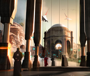 Temple matte painting
