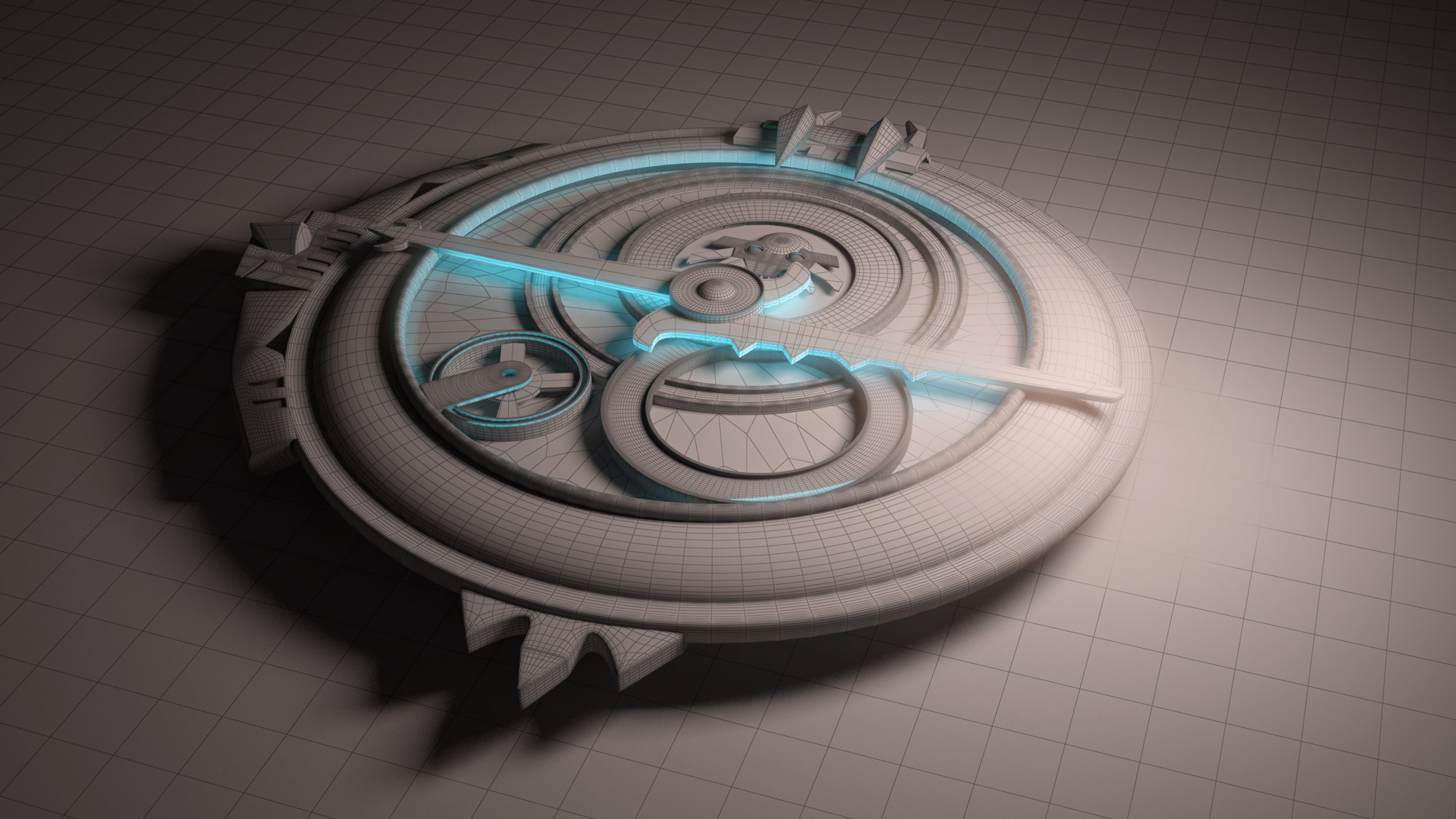 3D assets wireframe amuleto