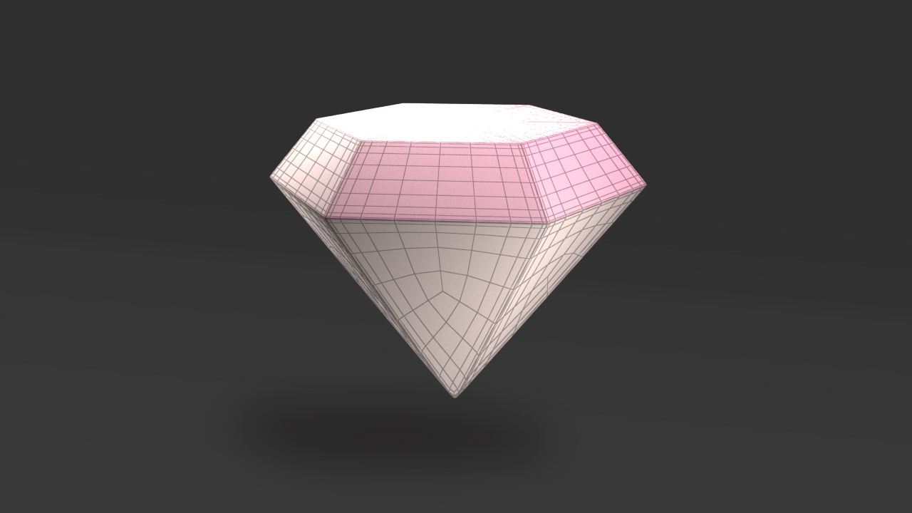 3D assets wireframe diamante
