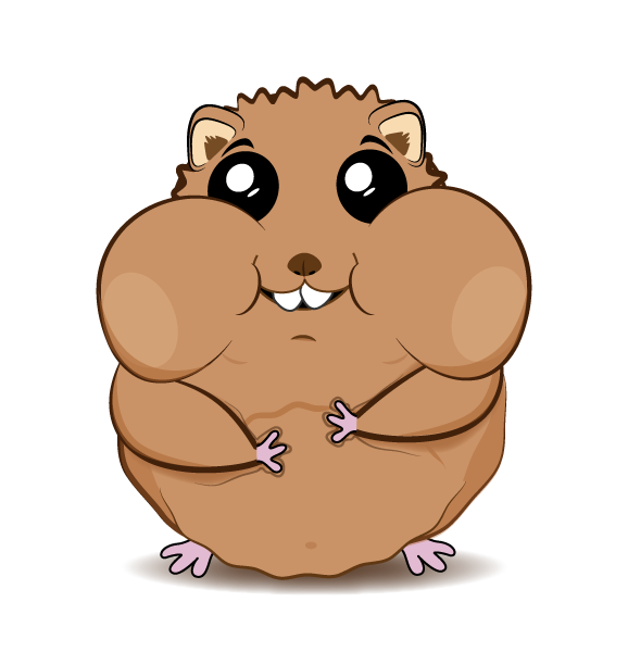 Ilustración de hámster al estilo cartoon, como personaje ... Cute Hamster Cartoon