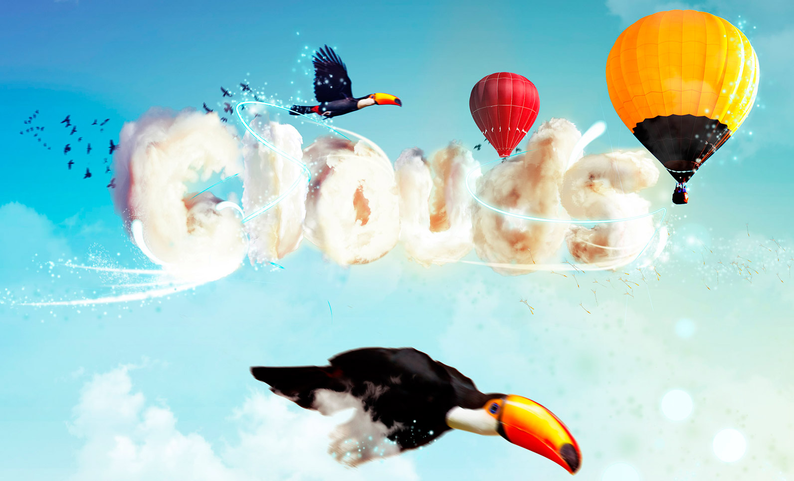 Tipografía con nubes