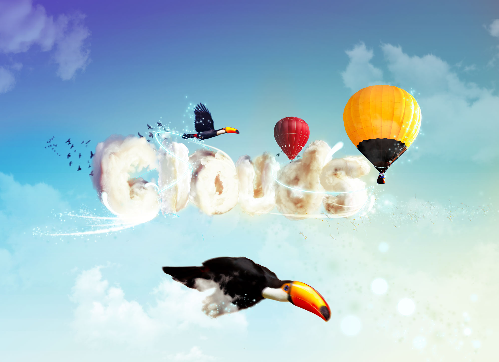 Typography with clouds