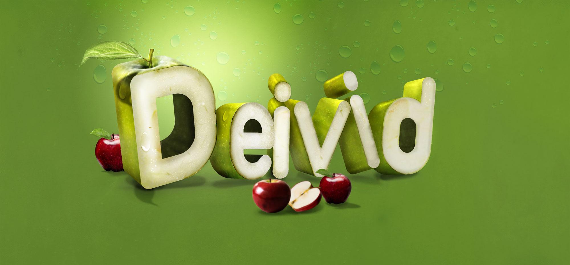 Tipografía con frutas