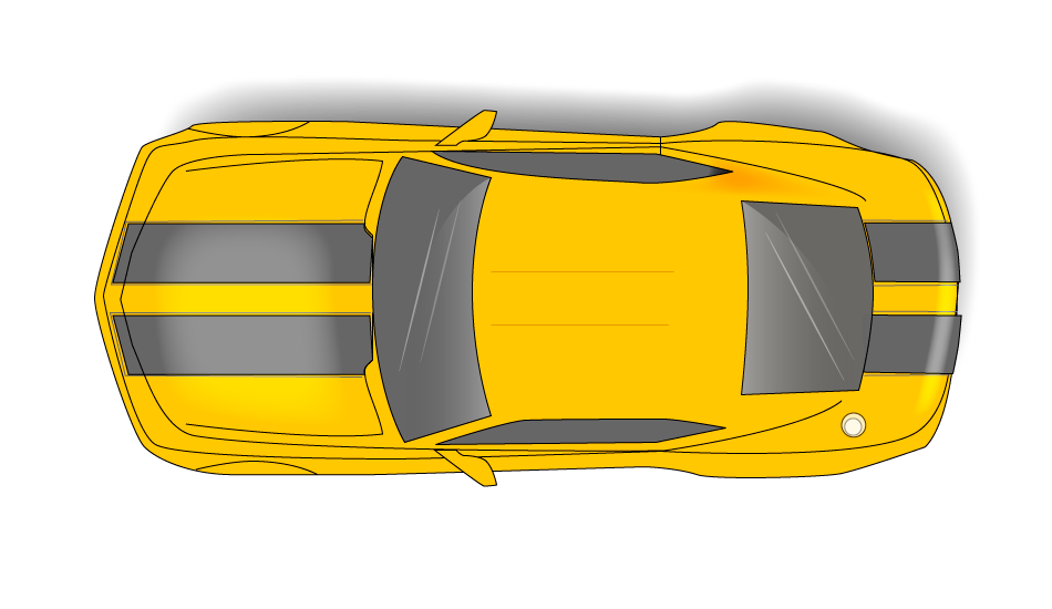 Vista cenital de coche Camaro